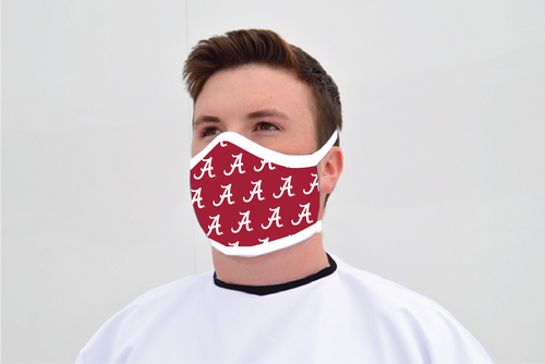 Alabama Crimson Tide Face Mask- Crimson Tiled A - Reusable - Washable