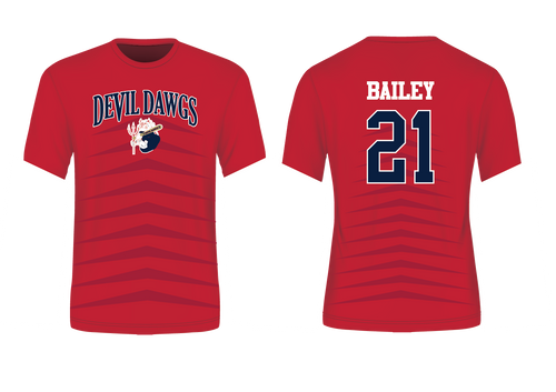 Devil Dawgs Baseball Sublimated Red Sublimated T