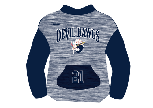 Devil Dawgs Fully Sublimated Hoodie - Navy Heather Design