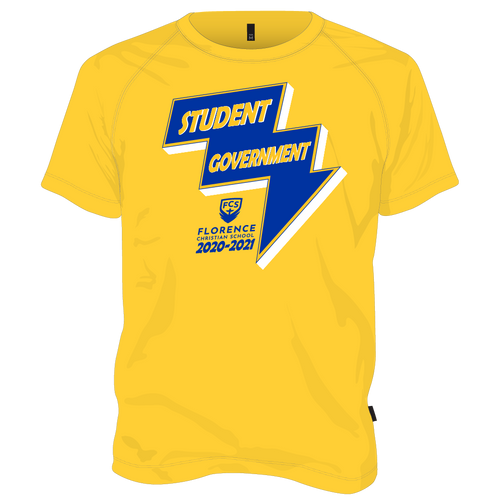 FCS Student Government Shirt - Gold with Bolt