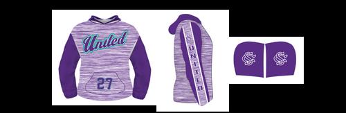 SC United Purple Heather Hoodie--Fully lined