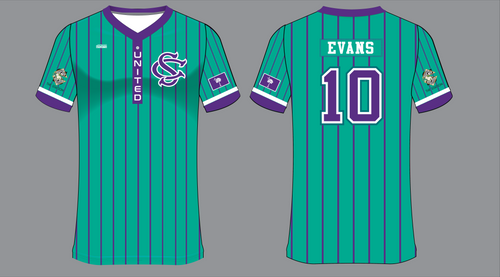 2021 SC United Teal Striped Jersey - Station Sponsor