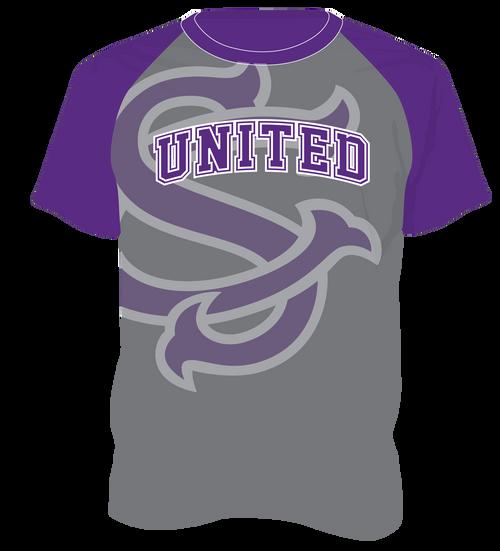 SC United Dry Fit  T - Gray/Purple Raglan