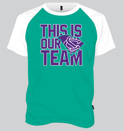 SC United Dry Fit  T - This is Our Team Design Teal/White Raglan