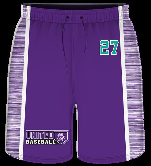 SC United Sublimated Shorts - Purple with Heathered Inserts