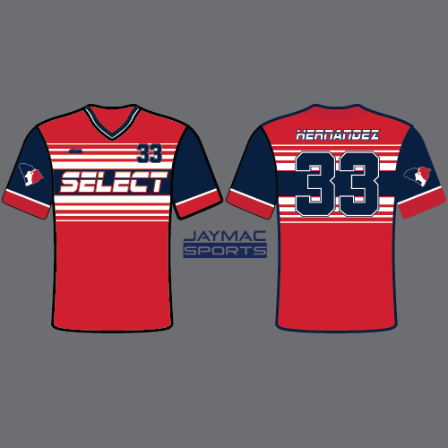 SC Select Baseball Jersey - Red Striped Design