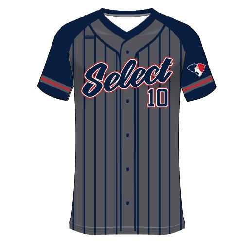 SC Select Baseball Jersey - Graphite Pinstripe Design