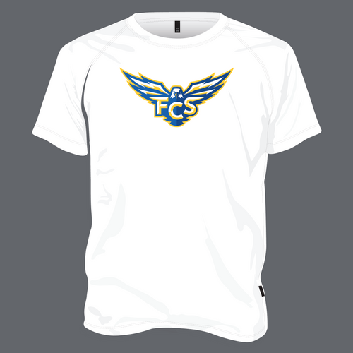 FCS Dry Fit T Shirt - White with Athletic Logo