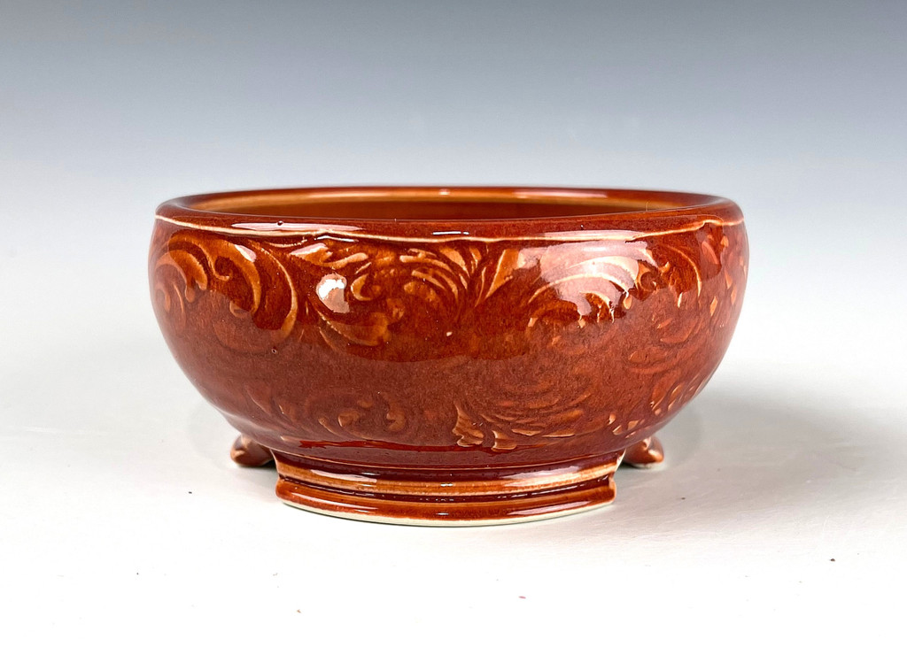 "Bonsai Pot, Glaze Over Texture, Porcelain, 4 1/2"" dia 21192"