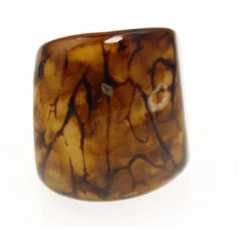 Eco-Chic Tagua Nut Marble Ring - Brown