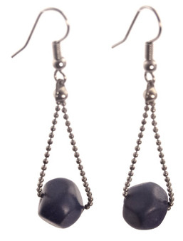 Eco-chic Faceted Tagua Ball on Chain Earrings - Lavender