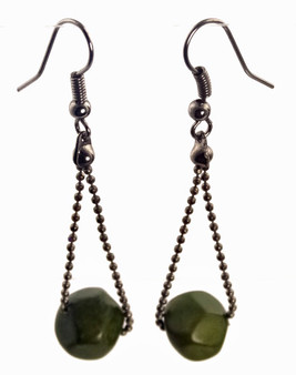 Eco-chic Faceted Tagua Ball on Chain Earrings - Green