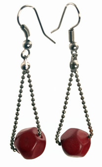Eco-chic Faceted Tagua Ball on Chain Earrings - Red