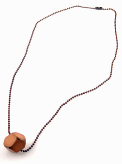 Tagua Jewelry Necklace with Faceted Tagua Chunk - Apricot