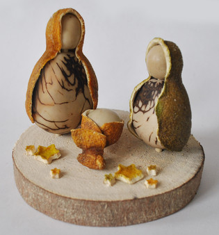 Novelty Ornaments - Nativity Tagua Nut and Orange Peel