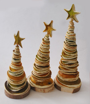 Novelty Ornaments - Orange Peel Christmas trees