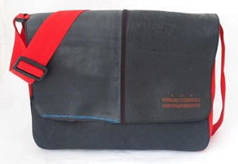Recycled Tire Tube Messenger Bag with Silkscreen - Red DC Flag