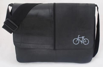 Recycled Tire Tube Messenger Bag with Silkscreen - White Road Bike