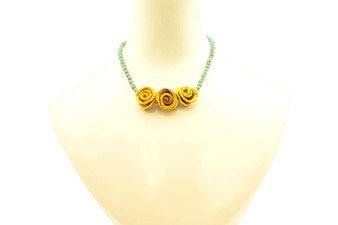 Single-Strand Chirilla Seed Teal Necklace with 3 Petite Yellow Orange Peel Roses