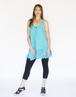 Asymmetrical 2PC Dress - Aqua Blue