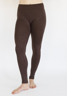 Animal Print Fleece Leggings-Brown