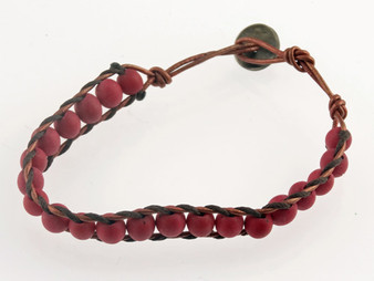 Single-Wrap Chirilla Seed Bracelet on Leather Rope Wire - Red