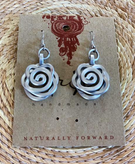 Tribal Aluminum Rose Earrings
