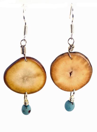 Eco-Chic Organic Hostia Nut Earrings with Chirilla Seeds - Aqua
