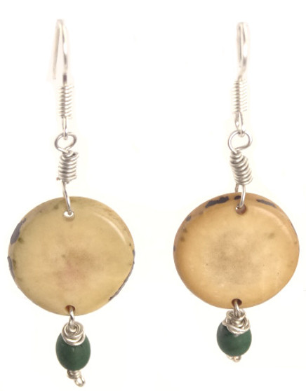 Eco-Chic Organic Tagua Sliced Earrings with Chirilla Seeds - Green
