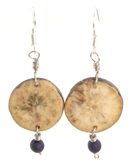 Eco-Chic Organic Tagua Sliced Earrings with Chirilla Seeds - Caribbean Blue