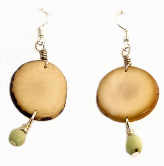 Eco-Chic Organic Tagua Sliced Earrings with Chirilla Seeds - Moss