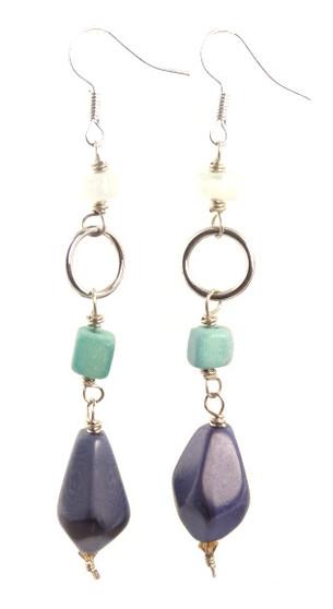 Diamond Faceted Tagua Earrings - Lavender/Aqua