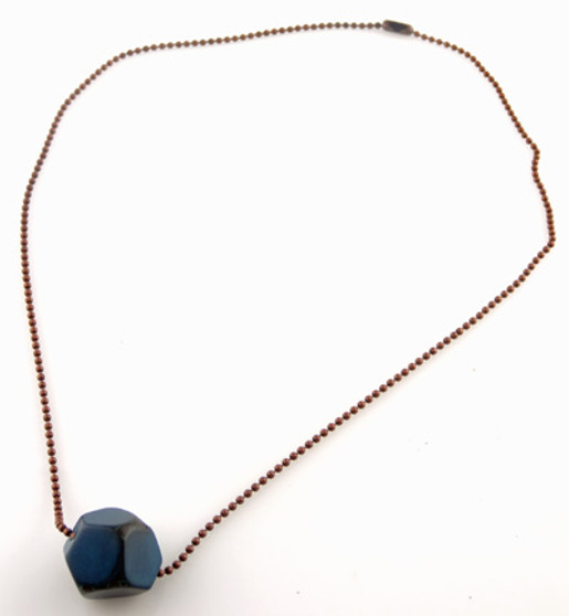 Tagua Jewelry Necklace with Faceted Tagua Chunk - Blue