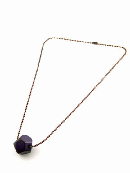 Tagua Jewelry Necklace with Faceted Tagua Chunk - Lavender