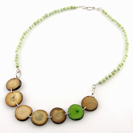 Chirilla Seeds and Hostia Nut Discs Necklace - Moss