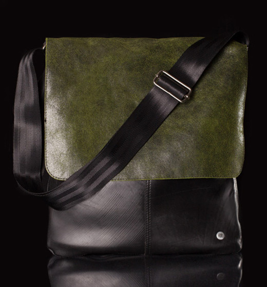 Urban Fossil Collection - Recycled Tire Tube Crossbody Bag - Green