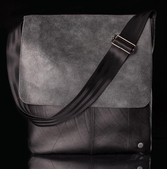 Urban Fossil Collection - Recycled Tire Tube Crossbody Bag - Grey