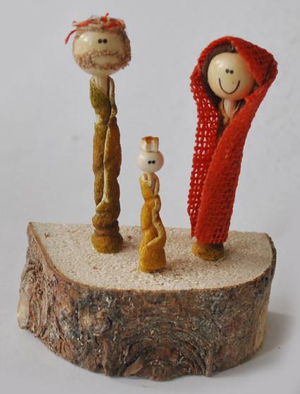 Novelty Ornaments - Nativity Jute Set on Wood