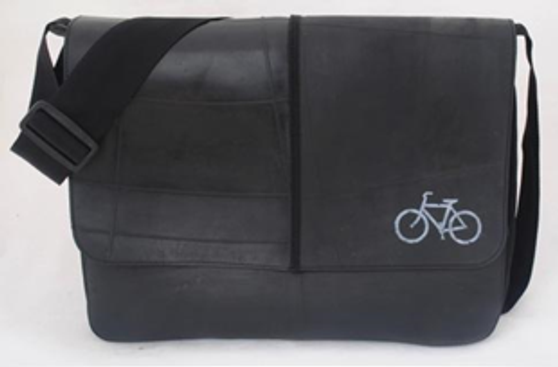 Recycled Tire Tube Messenger Bag with Silkscreen - White Road Bike
