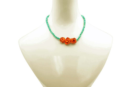 Single-Strand Chirilla Seed Teal Necklace with 3 Petite Orange Peel Roses