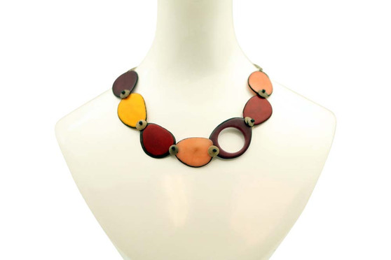 Necklace with Slices of Tagua and Laser Cut Detail - Warm Colors