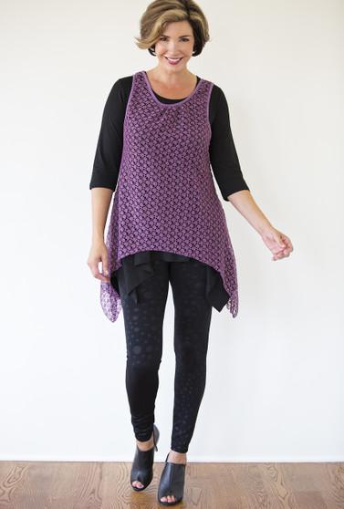Asymmetrical Lace Overlay - Purple