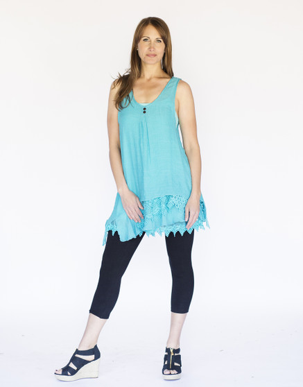 Asymmetrical 2PC Dress - Aqua Blue