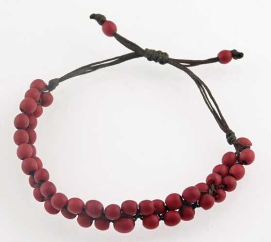Chirilla Seed Bracelet on Decorative Twine - Red