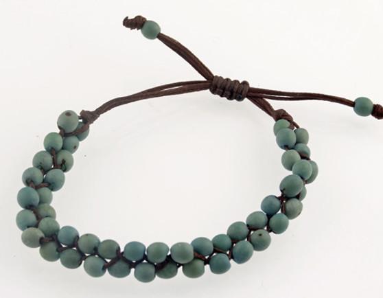 Chirilla Seed Bracelet on Decorative Twine - Blue