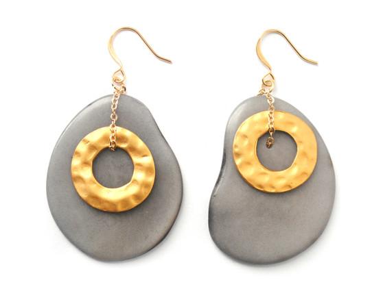 Solar Eclipse Earrings –Gray