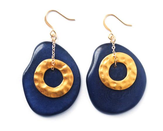 Solar Eclipse Earrings –Navy