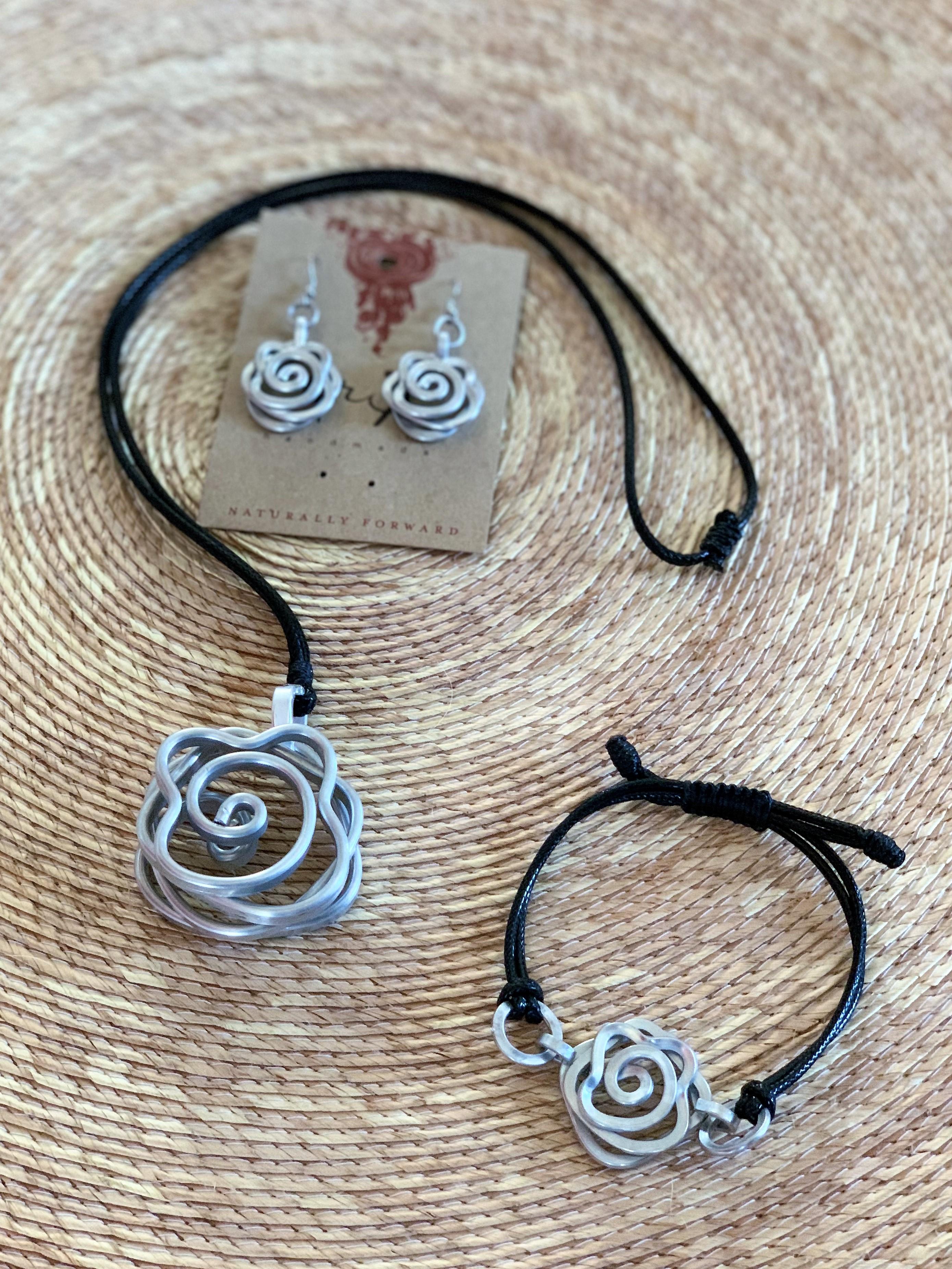 Tribal Aluminum Rose Pendant