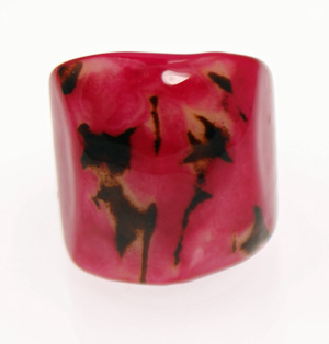 Eco-Chic Tagua Nut Marble Ring - Fuschia