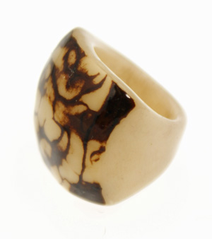 Eco-Chic Tagua Nut Marble Ring - Natural